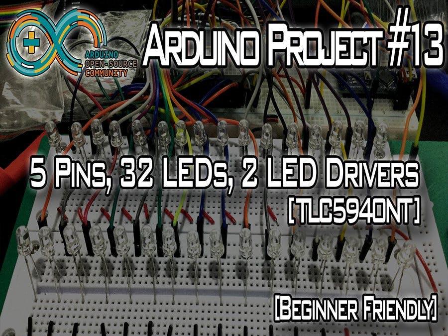 5 Pins, 32 LEDs, 2 LED Drivers [TLC5940]