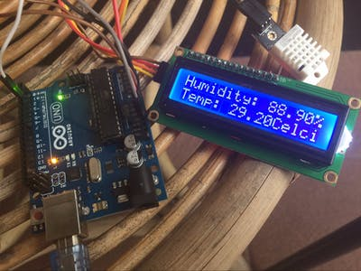 Temperature Monitor with DHT22 and I2C 16x2 LCD