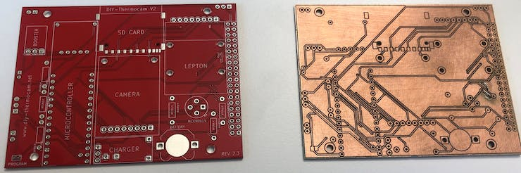 On the left, an industrial PCB, made by PCBway, and on the right, a PCB made at school.