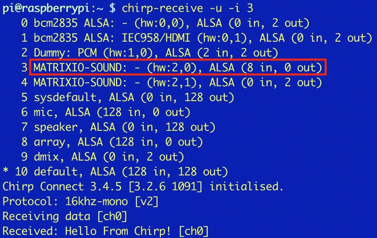 """""""chirp-receive"""" output with MATRIX mics highlighted and received hello world chirp."""