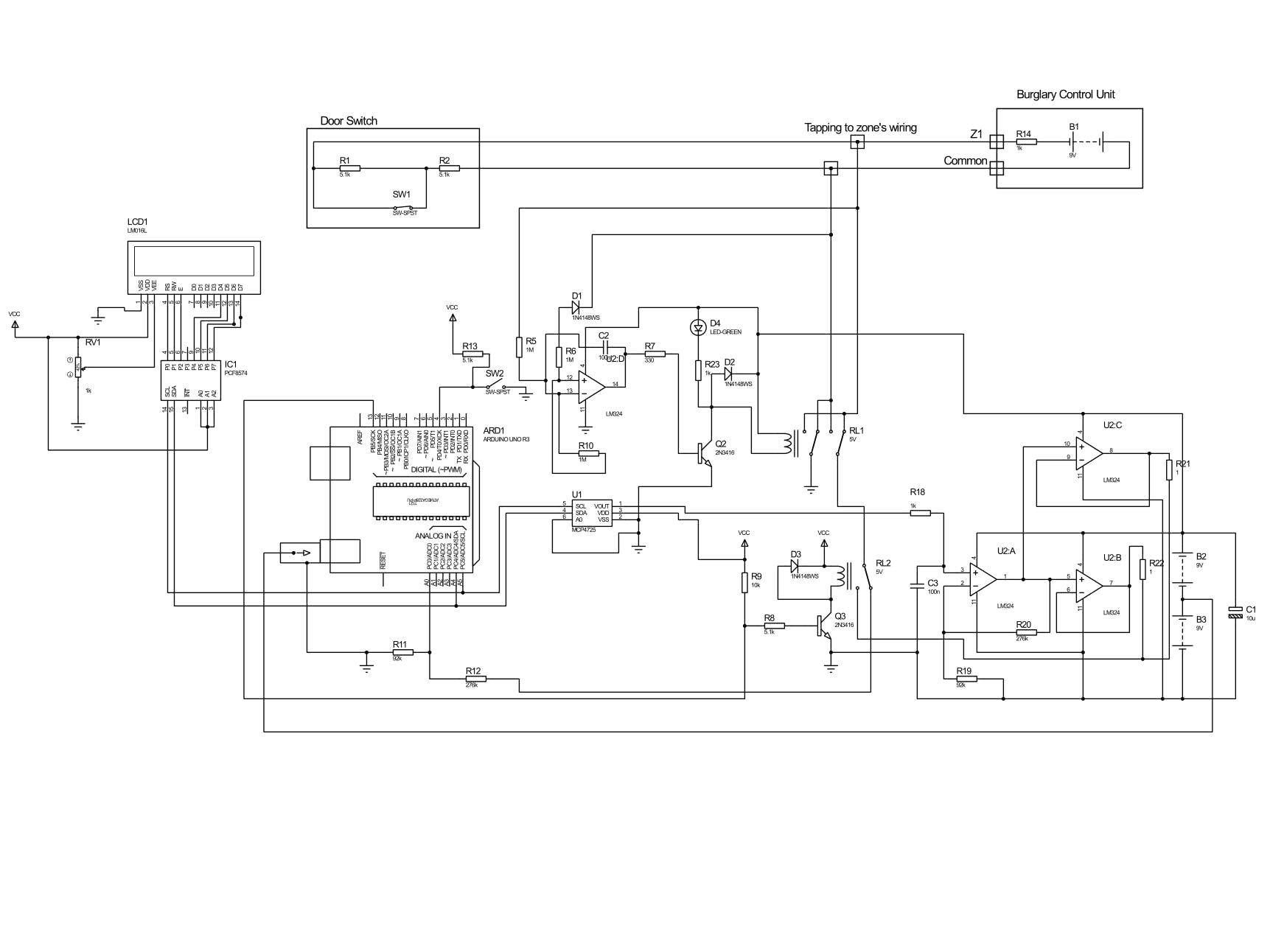 arduino project  burglar zone input tester