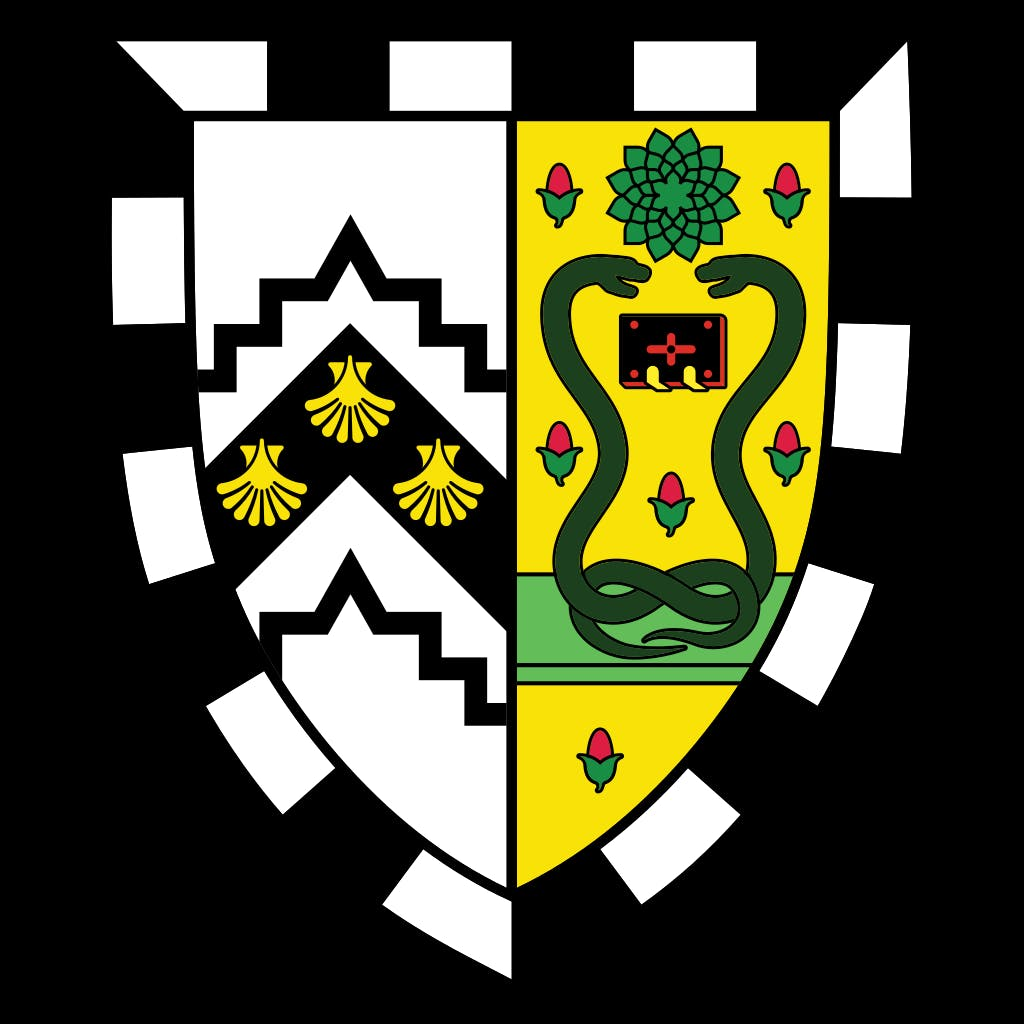 """Gonville and Caius College shield. The snakes mean """"medicine""""."""