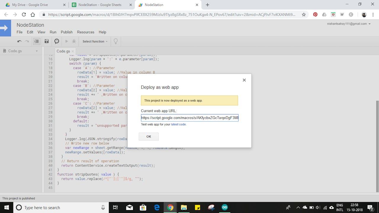 Sensor Data Upload to Google Sheets Through NodeMCU