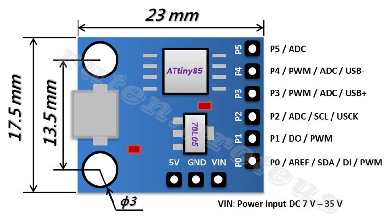Mini Arduino Micro USB Development Digispark Kickstarter ATTINY 85 Board