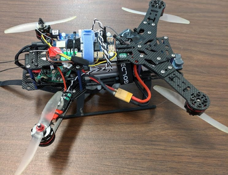 ESCs are mounted on the arms with zipties