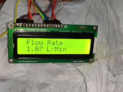 Water Flow Sensor Measure on 16x2 LCD Display