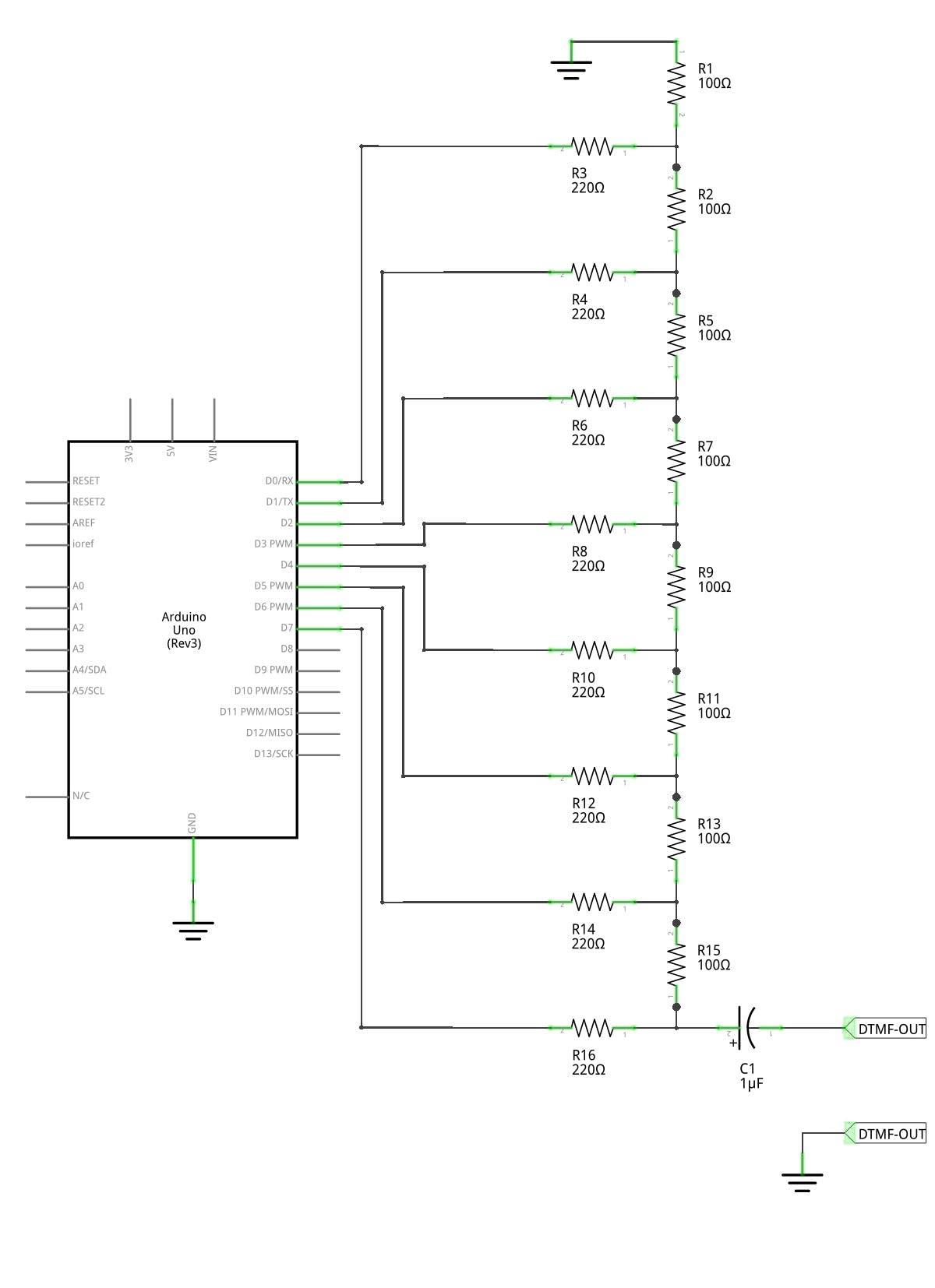 Schematic of the DTMF generator.