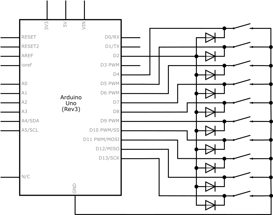 10 buttons using 1 interrupt with diodes