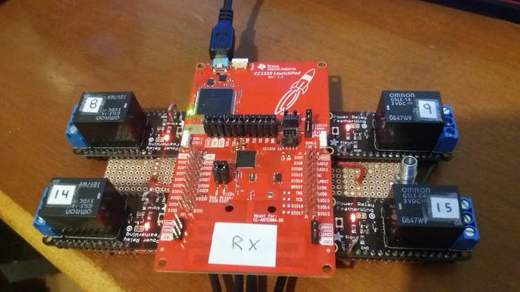 Complete assembly of relay board and CC1310 Receiver Module