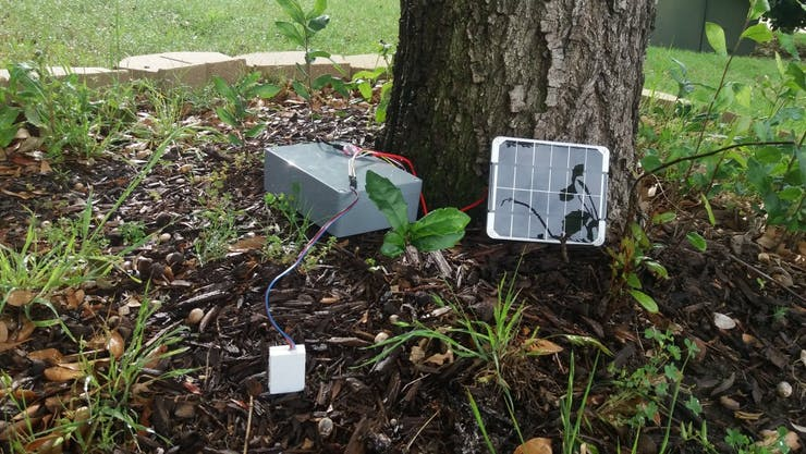 Example of wireless moisture sensor node installation with solar panel.