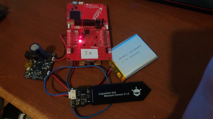 Prototype assembly of outdoor moisture sensor node without solar panel or enclosure.