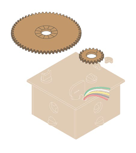 Cómo deben incluirse los engranajes en la caja.