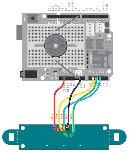 Esquema de conexión para los cables del array IR.