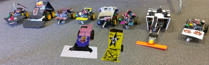 Some of the Battle Bots that were created by the students