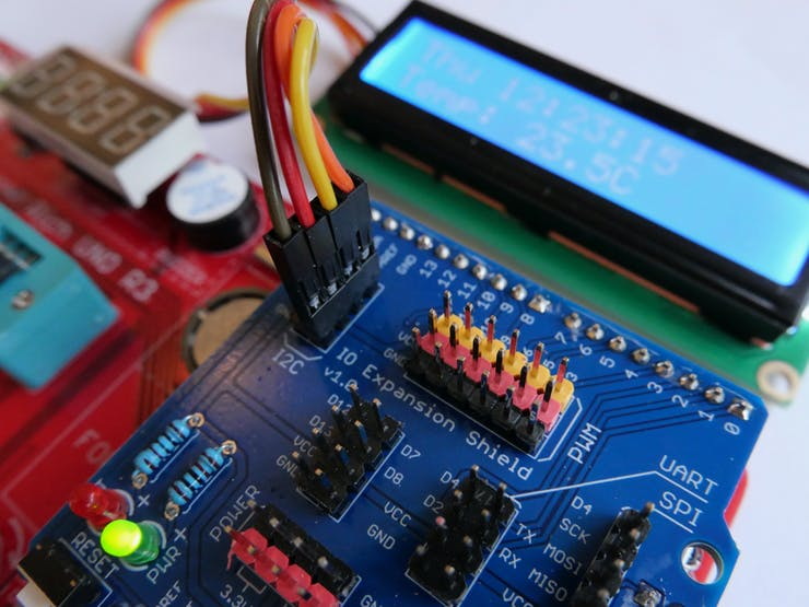 16x2 LCD display connected to the IO Expansion shield