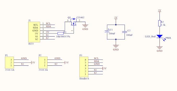 Makeblock RJ25 adapter board circuit