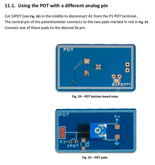 Disconnect potentiometer to use the A1 port