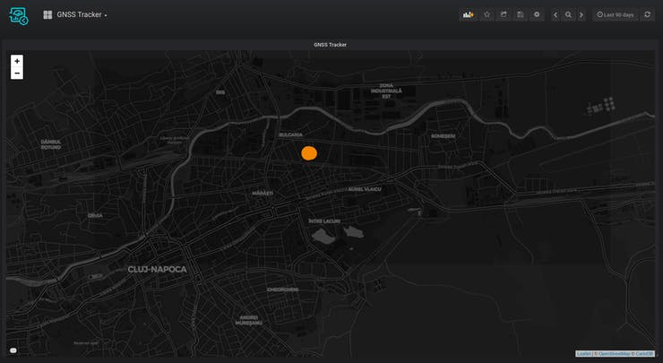 location data visualized in Soracom Map panel