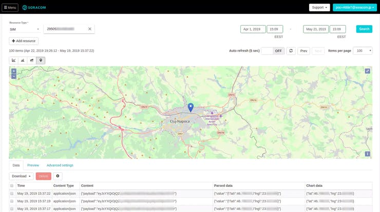 location data shown in the Harvest web interface