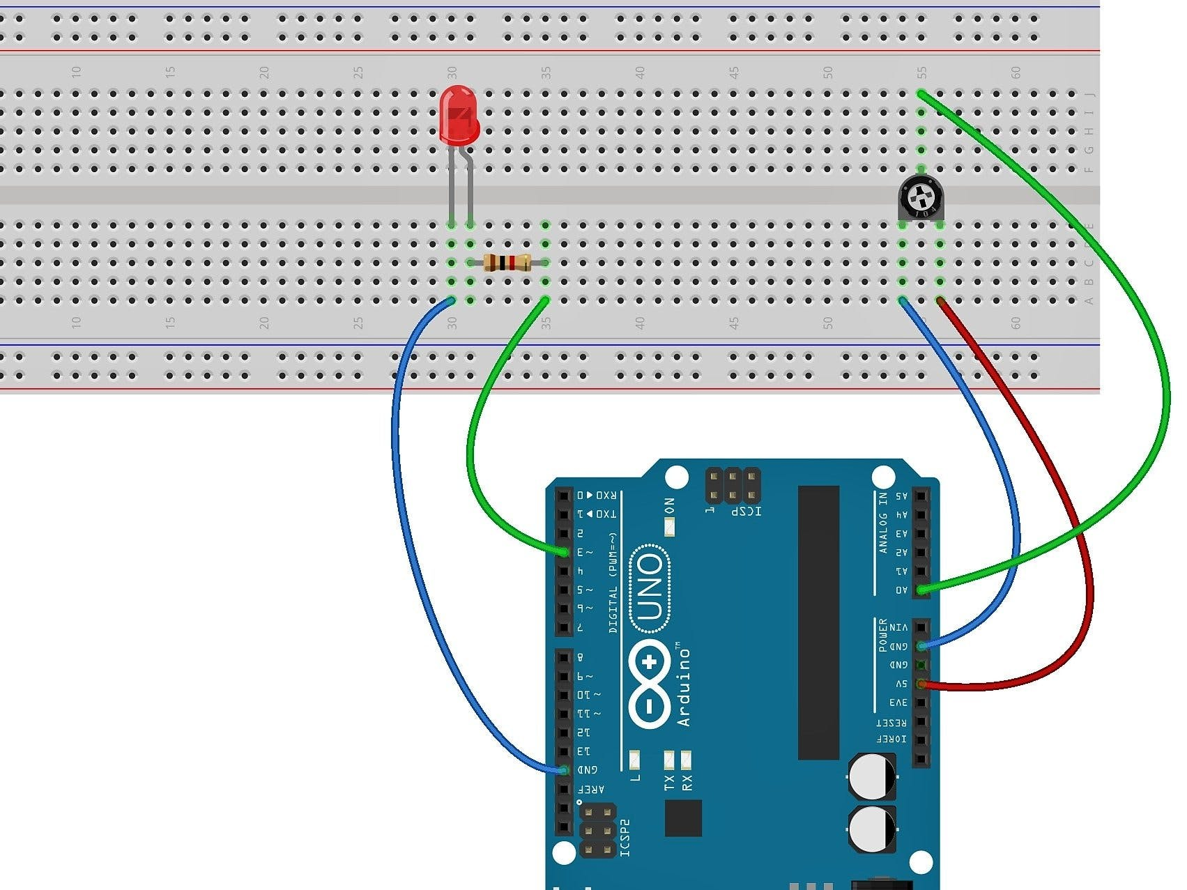 Working with a Potentiometer and an LED