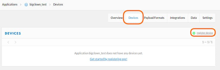 Go to the newly created Application, open Devices and click Register Device