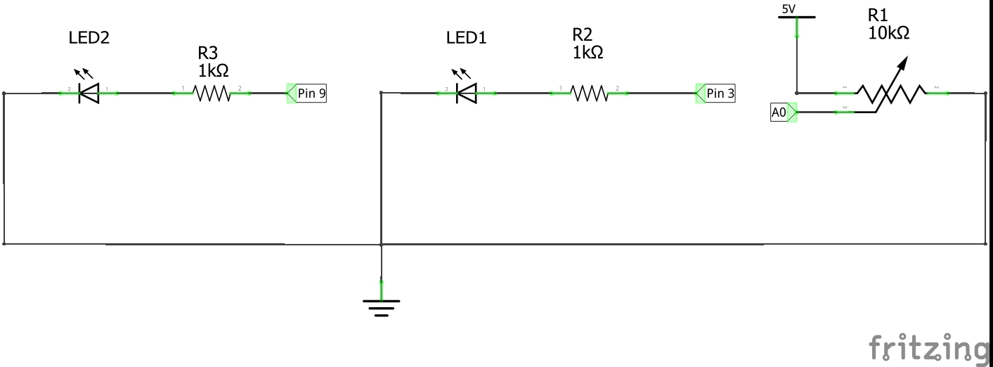 Working With A Potentiometer And Two Leds