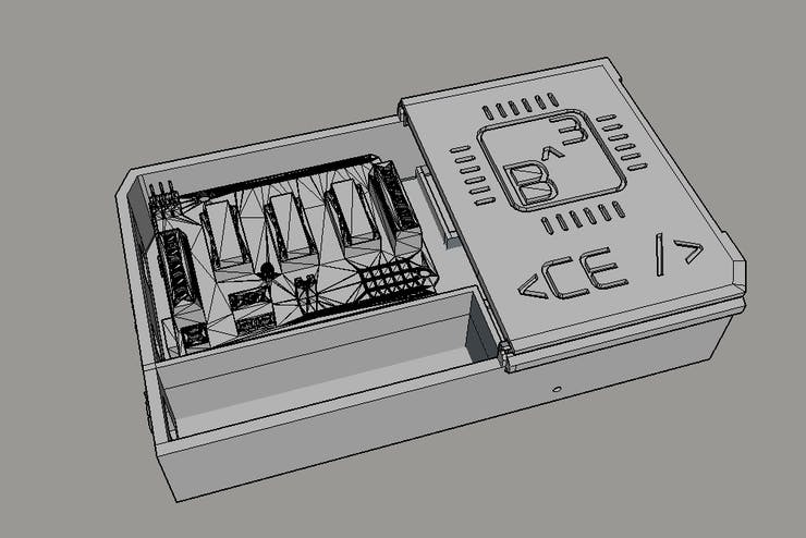 A CAD mock-up of the B^3 CE Mini