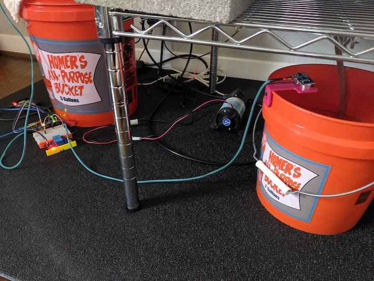Misting Bucket, Misting Pump, Drain Bucket with Proximity Sensor