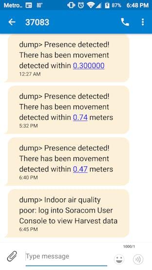 SMS sent via Amazon SNS