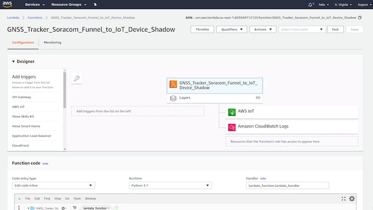 AWS IoT - Funnel to Device Shadow - Lambda function creation