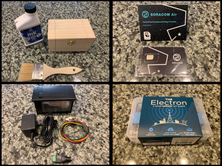 A painted box, a Soracom SIM card, an Adafruit Thermal Printer, and a Particle Electron