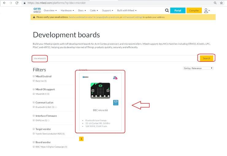 Select Micro:bit Board