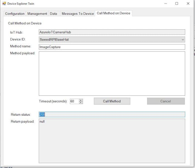 Using Azure Device Explorer to force and image capture