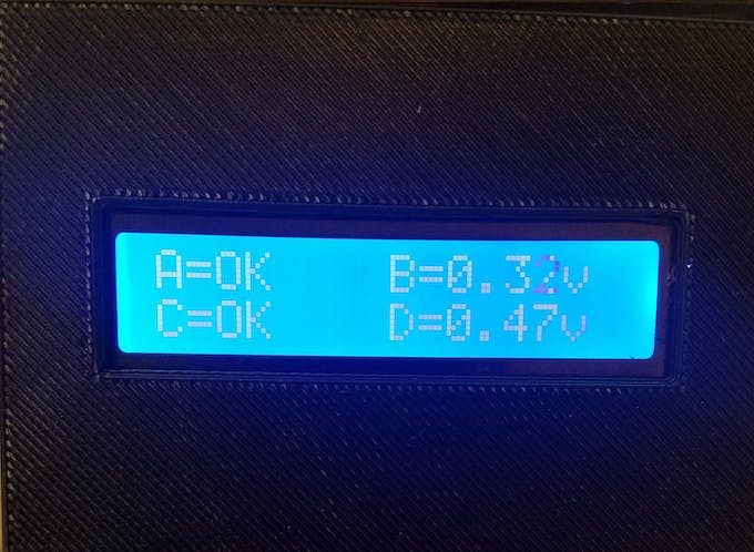 Display on the LCD showing which gates have their lasers aligned
