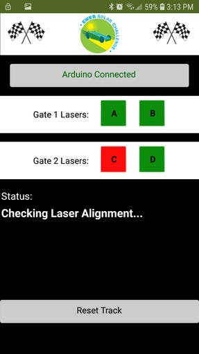 The (optional) phone connection shows that all lasers are aligned except the one at photogate C.