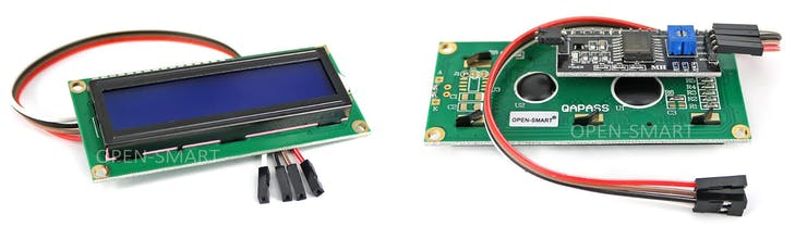 Front and rear view of the 16x2 character LCD display
