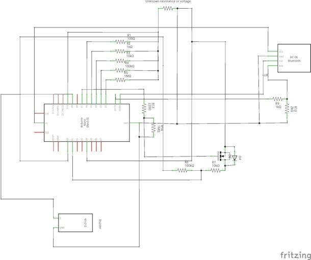 schematics with the voltmeter block