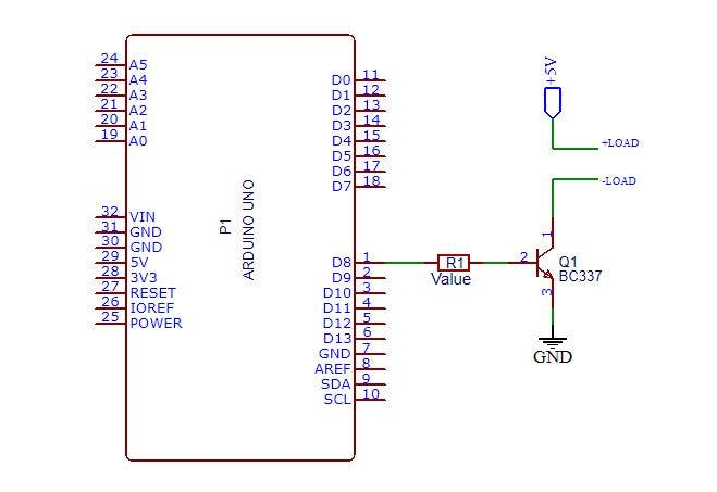 Figure 2 - Circuit for Increase the sourcing electrical current capacity of arduino pins.