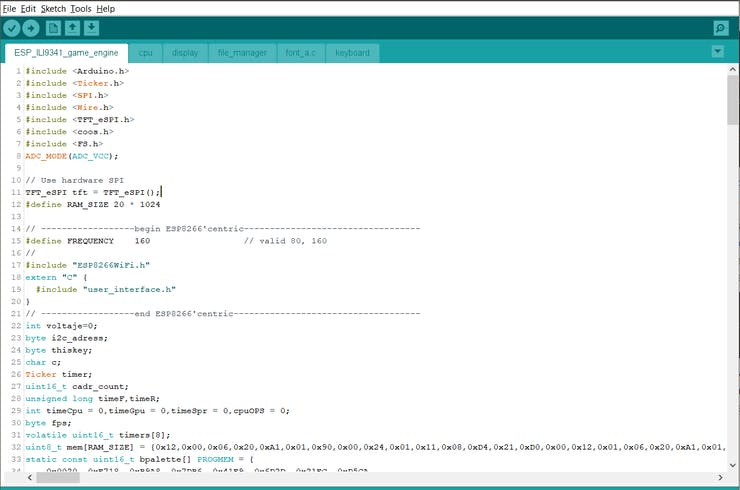 Screenshot of Arduino IDE with all the files/sketches/headers/c-files