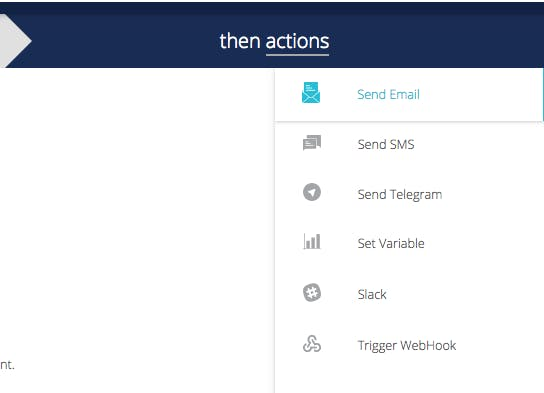 Configure which actions are to be executed and the message to the receiver
