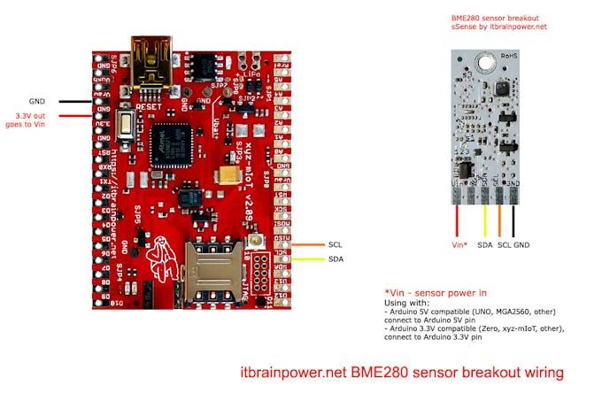 BME280 sensor breakout Arduino shield wiring