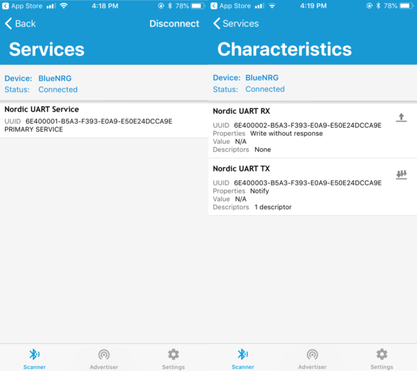 The Devices and Characteristics pages on the nRF Connect app