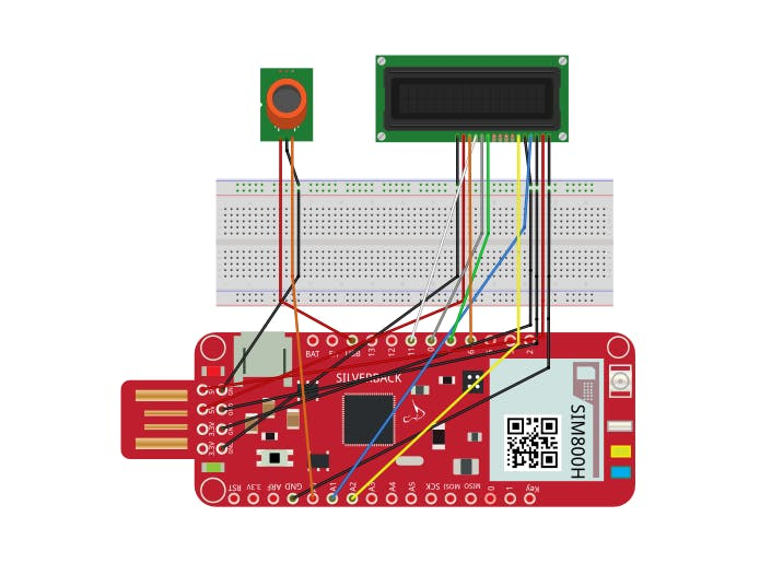 Integration of Surilli GSM with MQ2 Sensor and 16x2 LCD