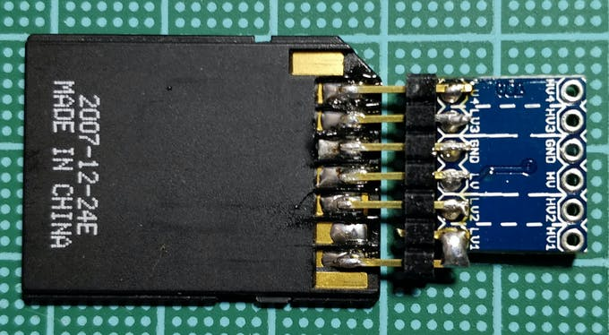The SD to microSD adapter is made compatible with the 5V of the Arduino Nano Every through a level shifter