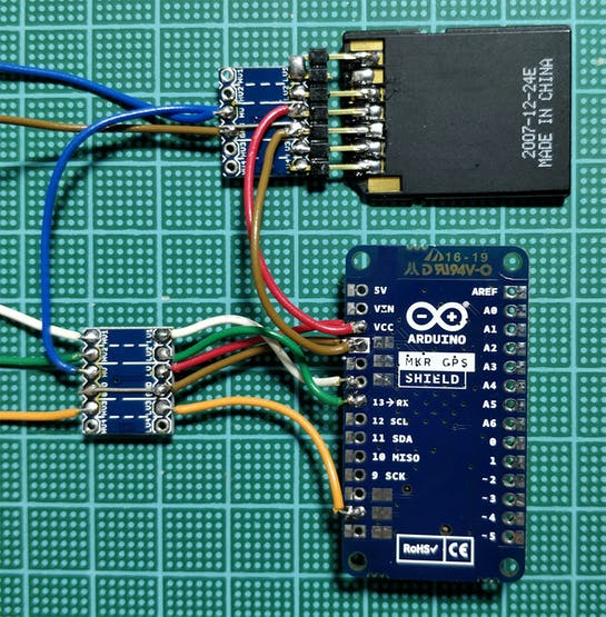 The two devices are connected through two level shifter to the Arduino Nano Every
