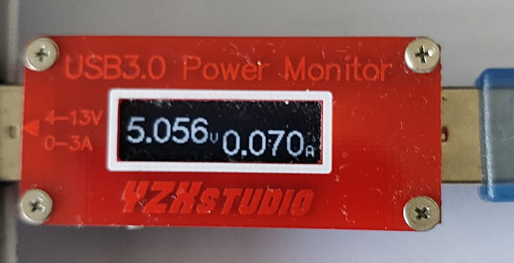 We measured the current drawn by the circuit with a USB power monitor