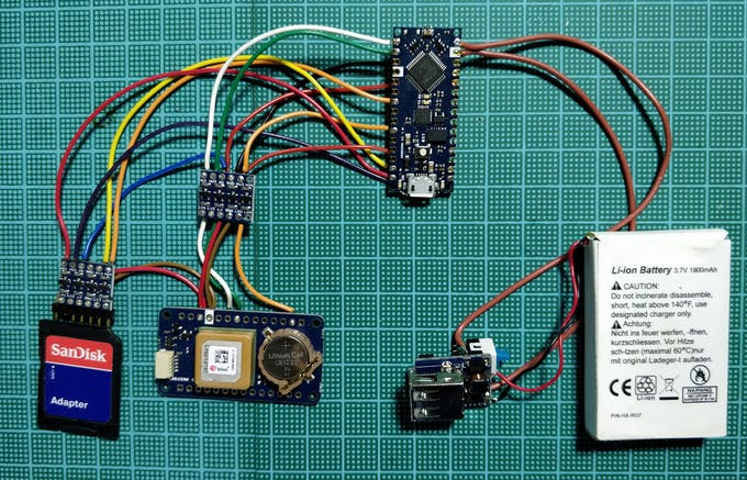 All the parts are wired together trying to keep the thickness at minimum to allow easy packing inside the Gnome
