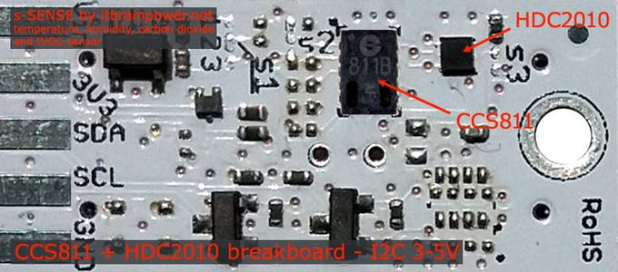 HDC2010 + CCS811 breakout - top