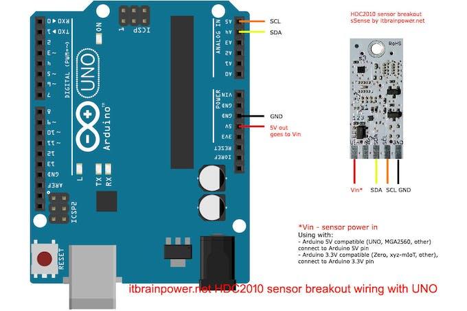 HDC2010 to Arduino UNO wiring