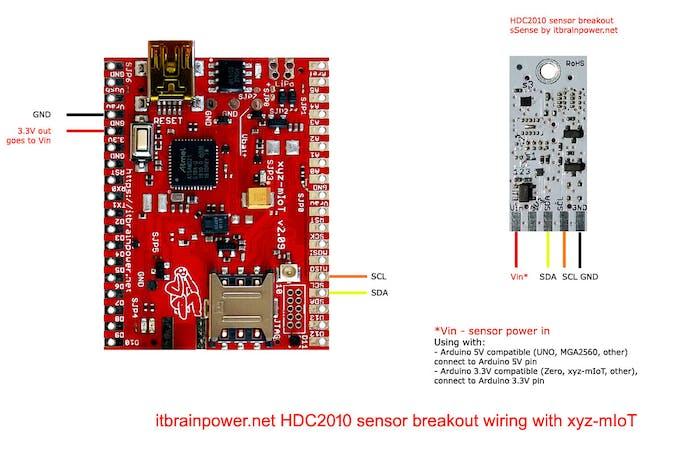 HDC2010 to xyz-mIoT [AT SAMD21G, 3.3V compliant] wiring